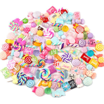 100x Resin Flatback Candys Sweets Slime Beads Making Supplies for DIY Crafts