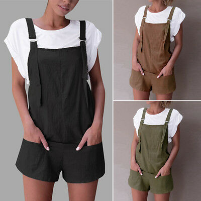 Women Summer Plus Size Mini Jumpsuit Playsuit Overalls Beach Club Party Romper