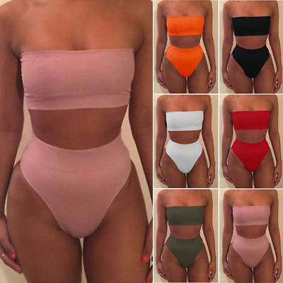 US Womens High Waisted Bikini Set Push Up Padded Swimsuit Beach Bathing Swimwear