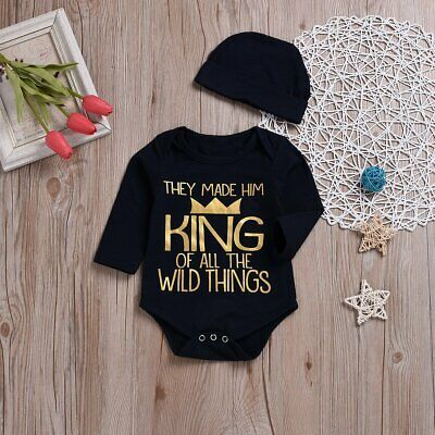 Newborn Infant Kids Baby Boy Girl King Romper Bodysuit Jumpsuit Outfits Clothes