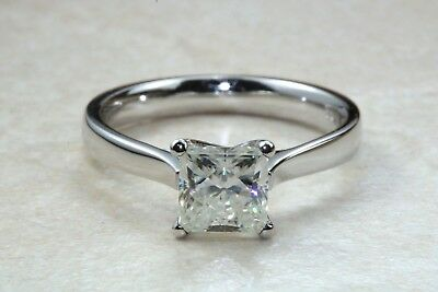 2.00ct Princess cut Charles Colvard Moissanite Plat Ring, D,E,F and VVS clarity