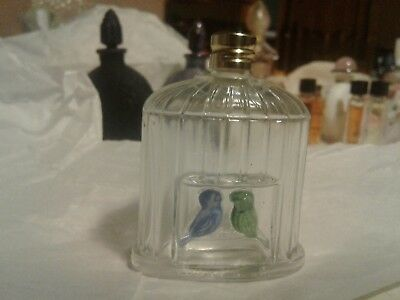 Bird cage perfume bottle made in france 2birds 1/2oz bottle old collectible