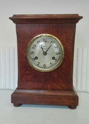 Vintage Oak 8 Day Bracket Clock with Strike