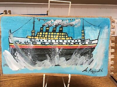 Lovely Vintage Folk Art Boat Painting Outsider Art Alfred Wallis Shabby Chic