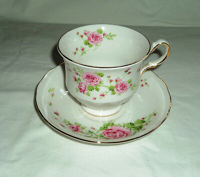 Avon Pink Roses Bone China Cup and Saucer c1974 England