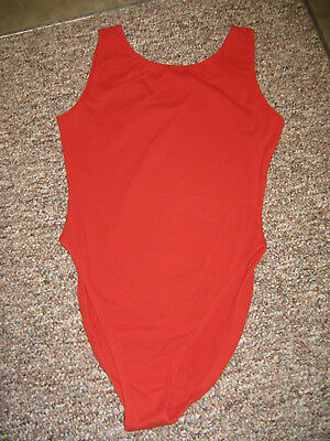 Womens Jazzercise Full Bottom Scoop Back Athletic  RED Leotard Size: Lg Vintage