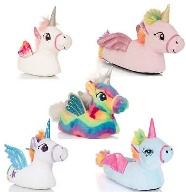 Ladies Girls Kids Novelty 3D Unicorn Slippers with Wings, Various Colours/Sizes