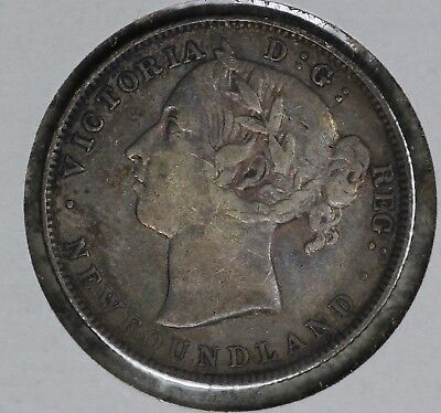 Nice Original Strong Very Fine Condition 1890 Newfoundland 20 Cents Silver Coin