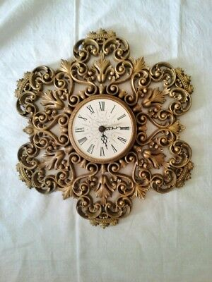 Mid Century Hollywood Regency Ornate Burwood Antique Gold New Haven Wall Clock