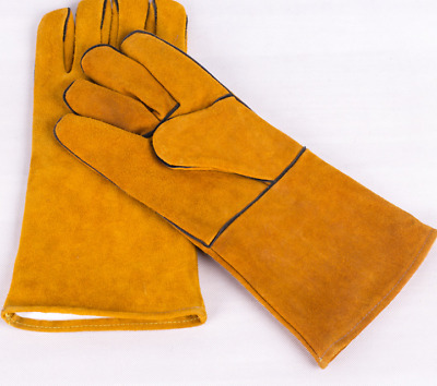 1 Pair Heavy Duty Mig Welding Gauntlets Protective Gloves Heat Resistant Leather