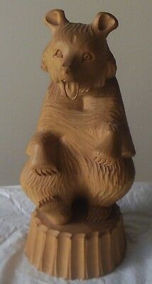 Russian Wooden Carved Bear -25 Cm - Stamped Foreign
