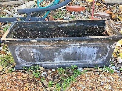 Antique trough Planter window molded box cast iron look weathered black 18""