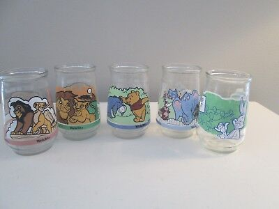 Vintage Welch's Jelly Jars Lion King, Winnie Pooh,  Bugs Bunny, Dr Suess SET 5