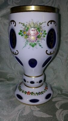 Beautiful Bohemian white cased glass cut to cobalt Moser? goblet