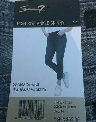 Seven7 Ladies Ultra Stretch High Rise Ankle Skinny Jeans Gray Size 14