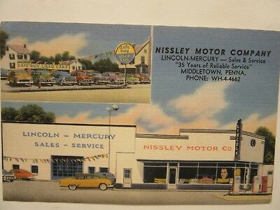 1950 's NISSLEY MOTOR CO., LINCOLN MERCURY DEALERSHIP, Middletown, PA postcard