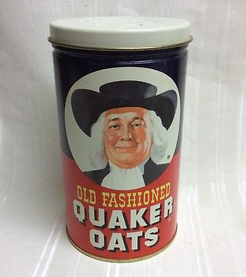 """Vintage 1982 Old Fashioned Quaker Oats Tin/Canister, 7.5"""", Ltd Ed"""