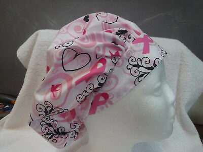 Bouffant surgical scrub hat cap medical breast cancer hearts black pink ribbons