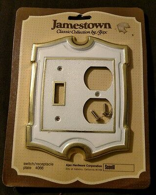 Vintage Ajax Hardware Jamestown Brass & White Switch & Outlet Toggle Plate Cover