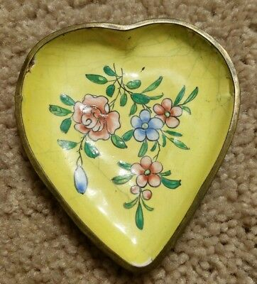 Antique Chinese Heart Shaped Enamel On Brass Cloisonne Dish Plate Flowers Floral