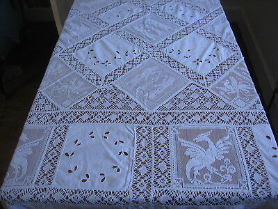 Vintage Army & Navy Banquet Tablecloth Filet Lace & Cutwork Embroidered Squares
