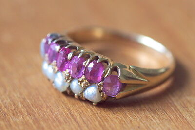 BEAUTIFUL ANTIQUE VICTORIAN ENGLISH 18K GOLD RUBY PEARL RING c1890