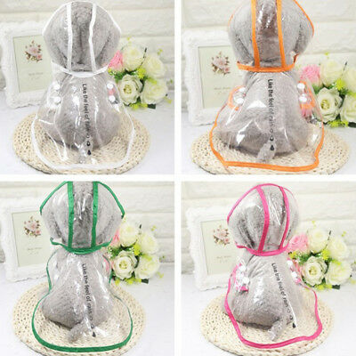 Pet Dog Cat Transparent Raincoat Water Ressistant Jacket Hooded Rainwear CA