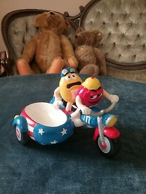 Rare 2002 Galerie M&m Guys Motorcycle With Side Car Figurine