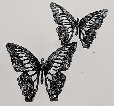 Butterfly - Laser Cut Shapes 2 Pc - Shiny Black Lambskin Leather