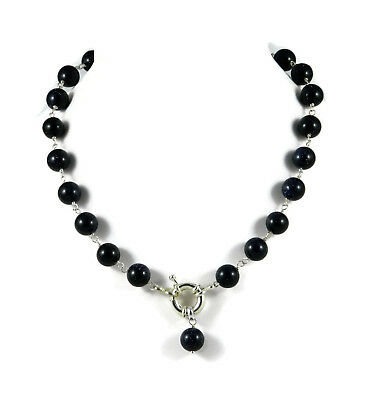Choker necklace in rosario with stone of the sun dark blue