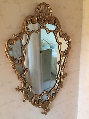 Vintage French Style Ornate Gilt Framed Wall Mirror