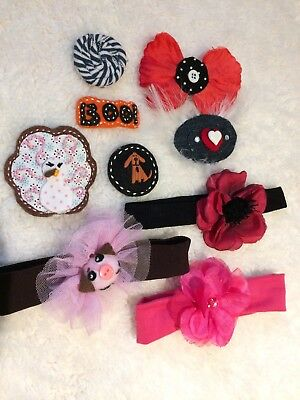 Lot Of Girl Hair Accessories Holiday Hair clip Bows Halloween Thanksgiving