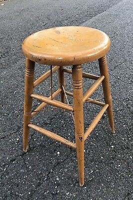 Antique Painted Wood Stool Sturdy Mustard Yellow Primitive Chippy Paint Rustic