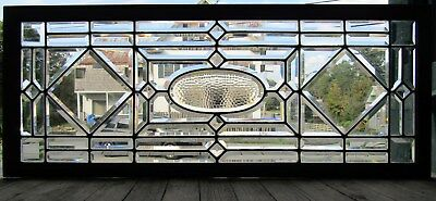 Victorian Antique Beveled Glass Window W Honeycomb Center