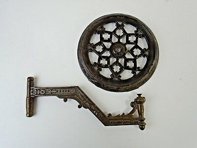 ATQ Victorian Ornate Cast Iron Kerosene Glass Oil Lamp Swing Arm Wall Sconce #3