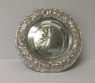 Kirk Repousse Sterling Silver Butter Dish w Glass/Crystal Insert 7 3/8""