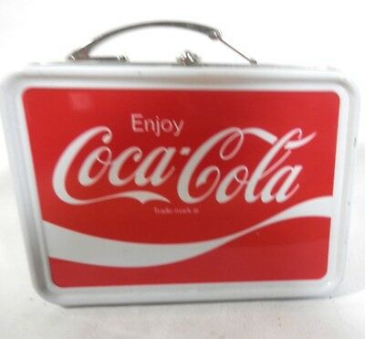 "Small Mini Miniature Metal Coca Cola Coke Lunch Box - 3 1/2""  2 1/2"" x 1 1/4"""