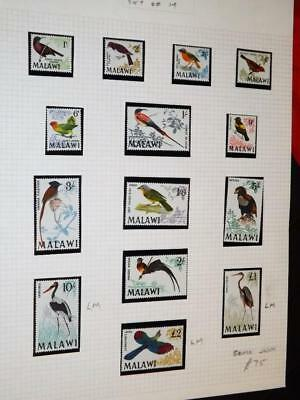 Malawi-1968 Birds Defins-Full Set Of 14 To £2-Lightly Hinged Mint(Some Unm)