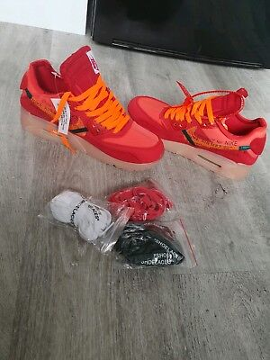 competitive price b8a90 cfb68 OFF-WHITE X NIKE AIR MAX 90 'UNIVERSITY RED' 'MANGO' size 7 UNRELEASED!