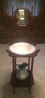 Vintage Wash Stand With Mirror Blue Basin & Pitcher Cherry Wood