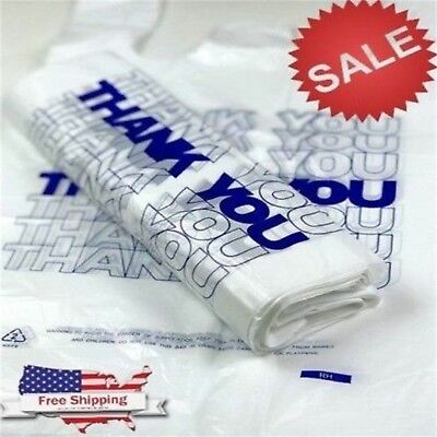 "100ct Large 12""x6""x21"" Thank You T-shirt Plastic Grocery Shopping Bags Carry Out"