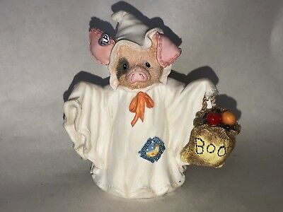 1995 Enesco This Little Piggy Squeal With Fright Ghost Halloween Figurine 145726
