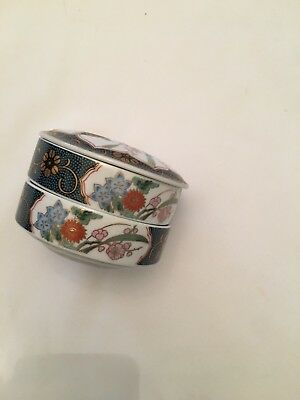 Vintage China Blue/Gold Multicolor Jewelry Ring Trinket Powder Box Ring Keeper