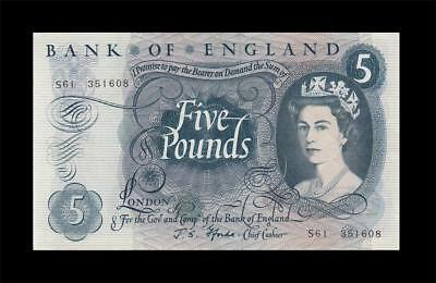 "1966-70 BANK OF ENGLAND QEII 5 POUNDS ~Fforde~ Replacement Prefix ""S"" (( aUNC ))"