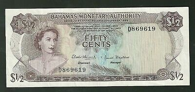 1968 Bahamas 50 Cents Bank Note 26A Currency Note Paper Money Fifty Half Dollar