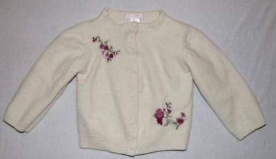 Janie and Jack aviary wool cardigan sweater with roses 12 18 24 months HCB