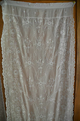 """An antique, 19th century French tambour lace curtain or for re-work, 26"""" x 91""""."""