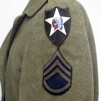 VINTAGE ORIGINAL US ARMY MELTON WOOL WINTER OVERCOAT 2nd INF DIV PATCHES 36R