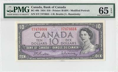 1954 BANK OF CANADA QEII $10 **Sig. Rasminsky** ~Consec 3 of 3~ (( PMG 65 EPQ ))
