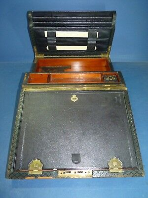 Antique Writing Slope Parkins & Cotto Oxford St London + Accessories Inkwell Etc